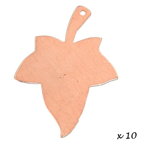 Lot de 10 Pendentifs en cuivre Feuille 1 trou, ébauche 42 x 31 mm, émaillage à froid - Photo n°2