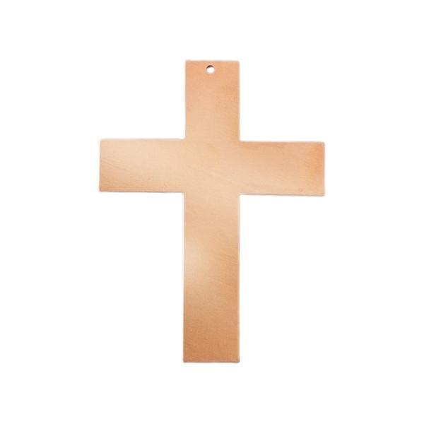 Lot de 10 Pendentifs en cuivre Croix 1 trou, ébauche 73 x 53 mm, émaillage à froid - Photo n°1