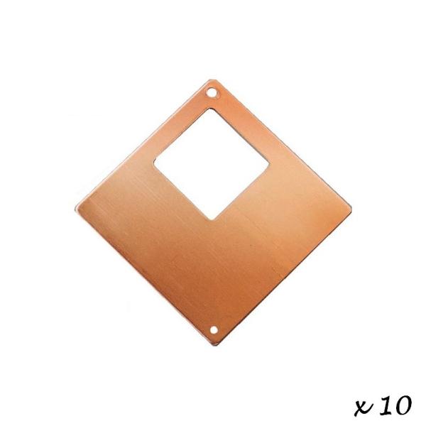 Lot de 10 Pendentifs en cuivre Carré, 2 trous, ébauche 4 x 4 cm pour émaillage - Photo n°1