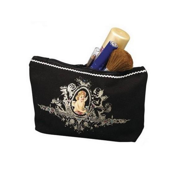 Trousse en coton noir 350g/m², 21x 15 x 5 cm, avec fermeture éclair, sac de maquillage à customiser - Photo n°2