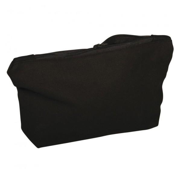 Trousse en coton noir 350g/m², 21x 15 x 5 cm, avec fermeture éclair, sac de maquillage à customiser - Photo n°1