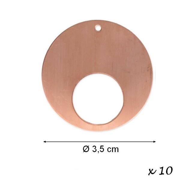 Lot de 10 Pendentifs en cuivre Rond, 1 trou, ébauche Ø 35 mm x 0.8 mm pour émaillage - Photo n°1