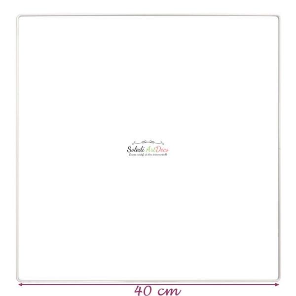 Carré métallique blanc 40 x 40 cm pour abat-jour, Epoxy blanc Attrape rêves - Photo n°1