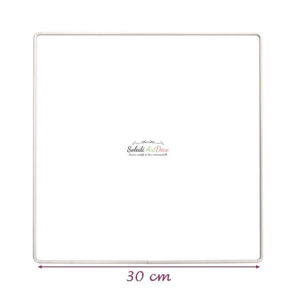 Carré métallique blanc 30 x 30 cm pour abat-jour, Epoxy blanc Attrape rêves - Photo n°2