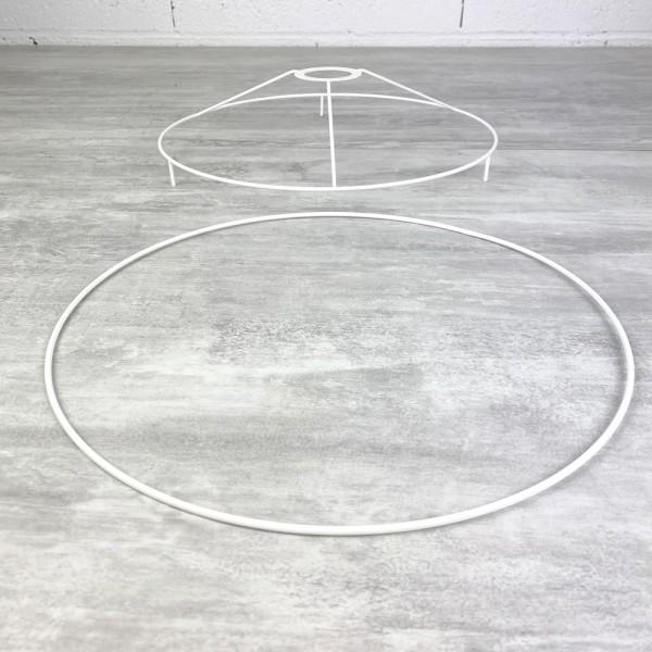 Set d'Ossature avec pieds, Ø 30cm pour abat-jour, Tête ronde avec pieds et anneau en epoxy blanc, po - Photo n°2