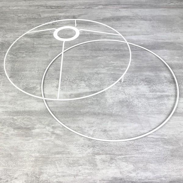 Set d'Ossature avec pieds, Ø 30cm pour abat-jour, Tête ronde avec pieds et anneau en epoxy blanc, po - Photo n°1