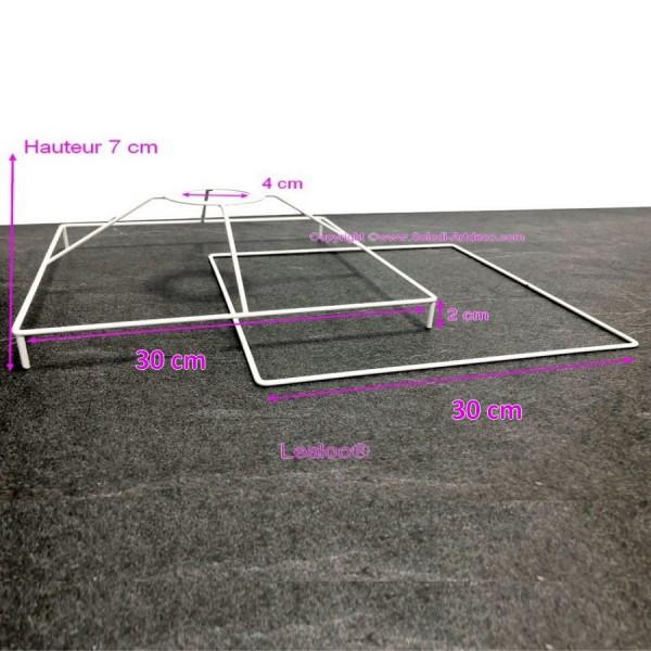 Set d'Ossature Carré avec pieds, 30cm pour abat-jour, Tête avec pieds et Cadre carrés en epoxy blanc - Photo n°2