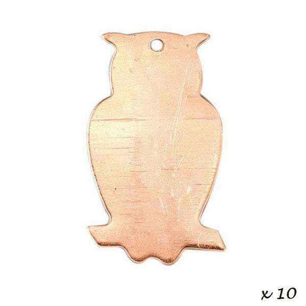 Lot de 10 Pendentifs en cuivre Hibou, 1 trou, ébauche 35 mm, pour émaillage - Photo n°2