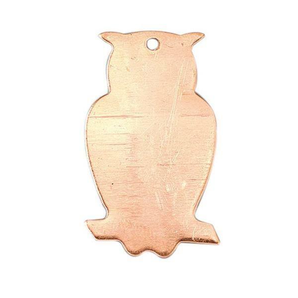 Lot de 10 Pendentifs en cuivre Hibou, 1 trou, ébauche 35 mm, pour émaillage - Photo n°1