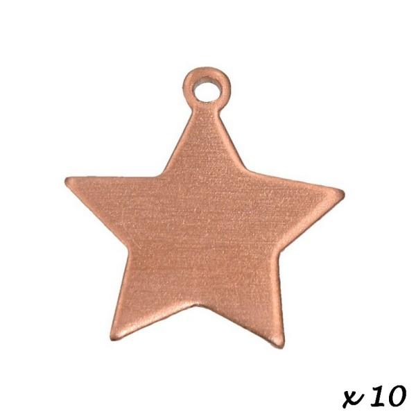 Lot de 10 Pendentifs en cuivre étoile, 1 trou, 17 x 20 mm, ébauche pour émaillage - Photo n°2