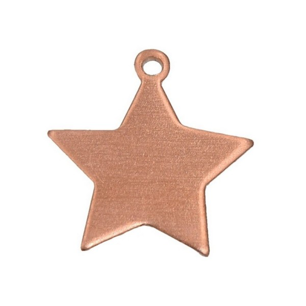 Lot de 10 Pendentifs en cuivre étoile, 1 trou, 17 x 20 mm, ébauche pour émaillage - Photo n°1
