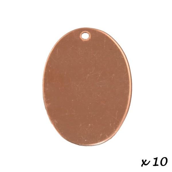 Lot de 10 Pendentifs en cuivre Ovale, 1 trou, 33 x 24 mm, ébauche pour émaillage - Photo n°2