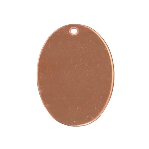 Lot de 10 Pendentifs en cuivre Ovale, 1 trou, 33 x 24 mm, ébauche pour émaillage - Photo n°1