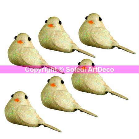 Lot de 8 Mini oiseaux pailletés Ivoire, long. 4 cm x larg. 2,5 cm, à poser - Doge