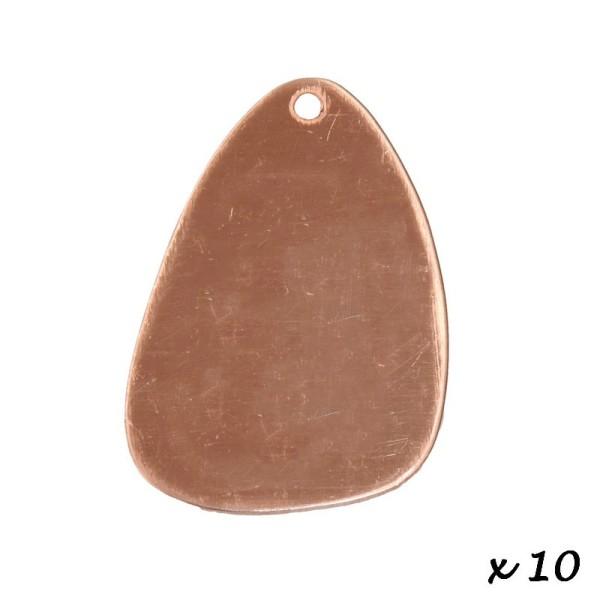 Lot de 10 Pendentifs en cuivre Triangle arrondi, 1 trou, 43 x 28 mm, ébauche pour émaillage - Photo n°2