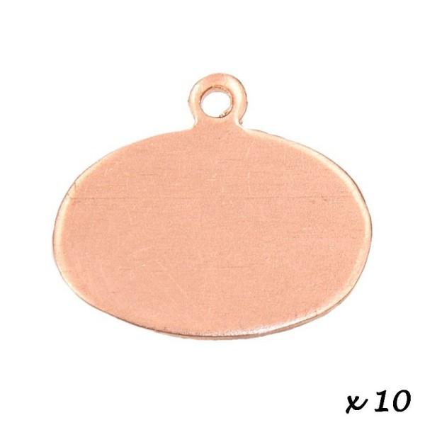 Lot de 10 Pendentifs en cuivre Ovale, 1 trou, 19 x 14 mm, ébauche pour émaillage - Photo n°2