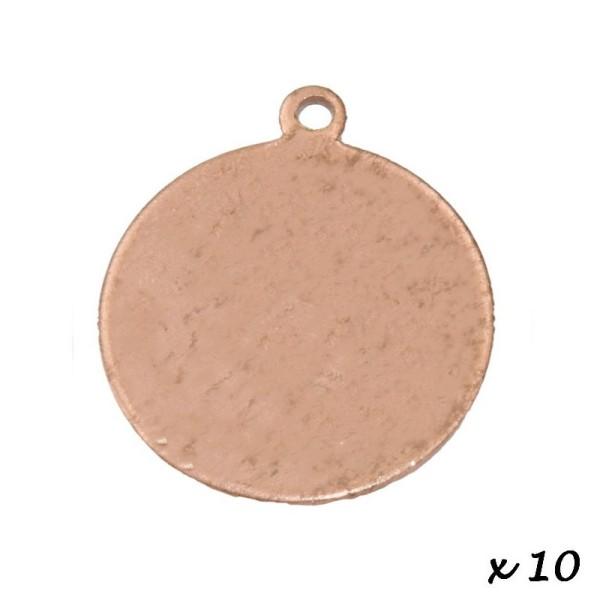 Lot de 10 Pendentifs en cuivre Rond, 1 trou, Ø 22 mm, ébauche pour émaillage - Photo n°2