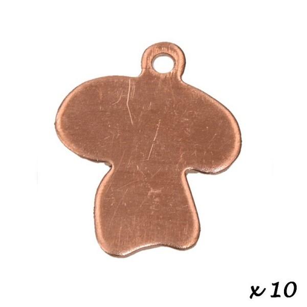 Lot de 10 Pendentifs en cuivre Champignon, 1 trou, 17 x 16 mm, ébauche pour émaillage - Photo n°2