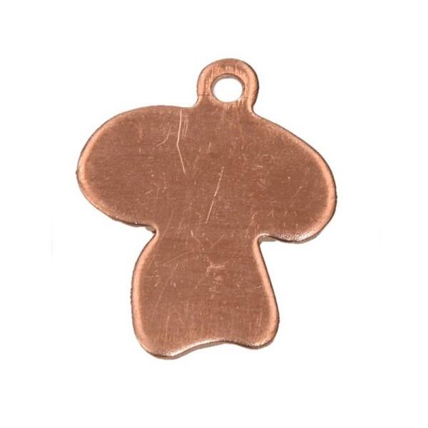 Lot de 10 Pendentifs en cuivre Champignon, 1 trou, 17 x 16 mm, ébauche pour émaillage - Photo n°1
