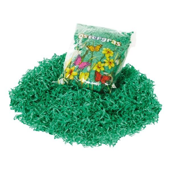 Sachet de 30 g d'herbe factice en papier vert pour la décoration de pâques ou printannière - Photo n°1