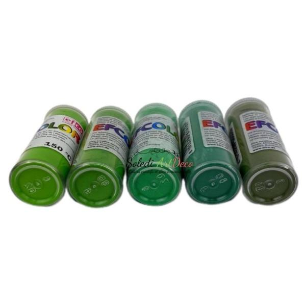 Set 5 couleurs Poudre Efcolor 10 ml, nuancier vert, 2 tamis, pour émaillage à froid, cuisson à 150°C - Photo n°2