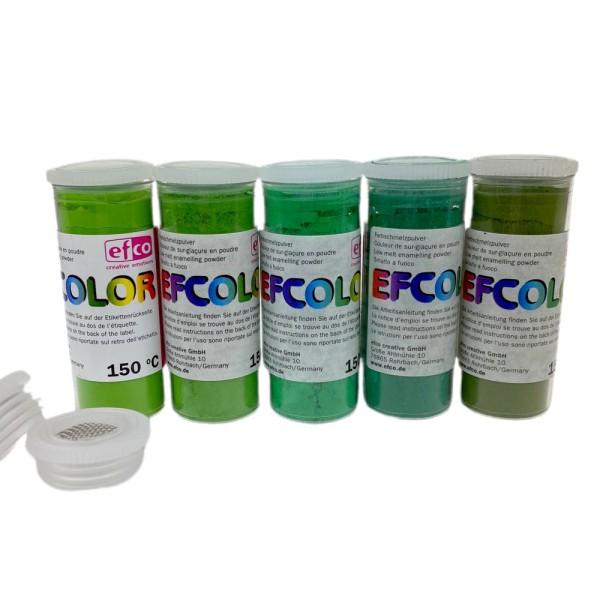 Set 5 couleurs Poudre Efcolor 10 ml, nuancier vert, 2 tamis, pour émaillage à froid, cuisson à 150°C - Photo n°1