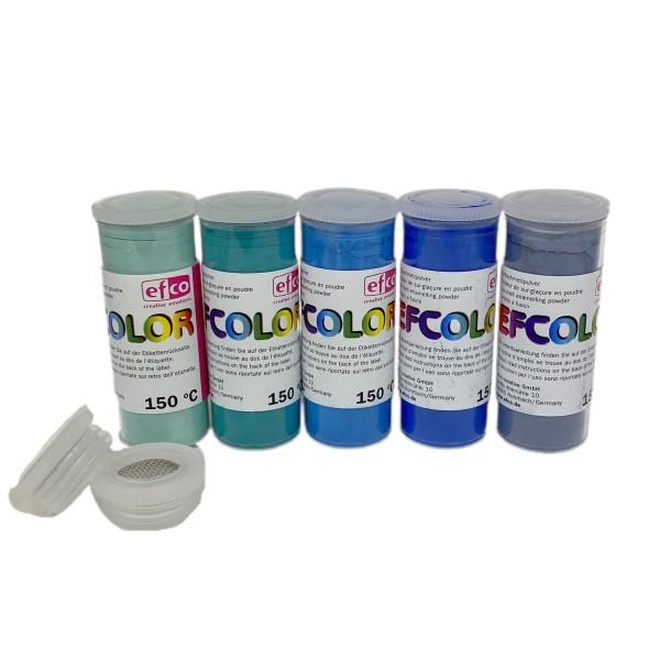Set 5 couleurs Poudre Efcolor 10 ml, nuancier bleu, 2 tamis, pour émaillage à froid, cuisson à 150°C - Photo n°1