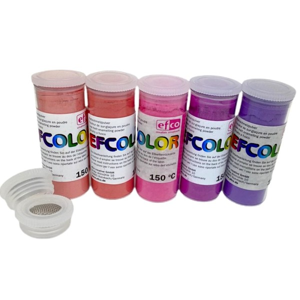 Set 5 couleurs Poudre Efcolor 10 ml, nuancier rose, 2 tamis, pour émaillage à froid, cuisson à 150°C - Photo n°1