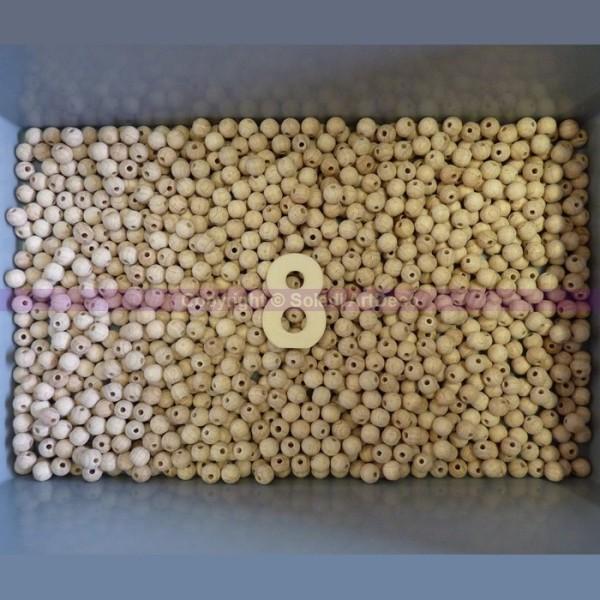 Lot de 500 boules percées en bois de hêtre, Ø 8 mm, perçage 2,3 mm - Photo n°1