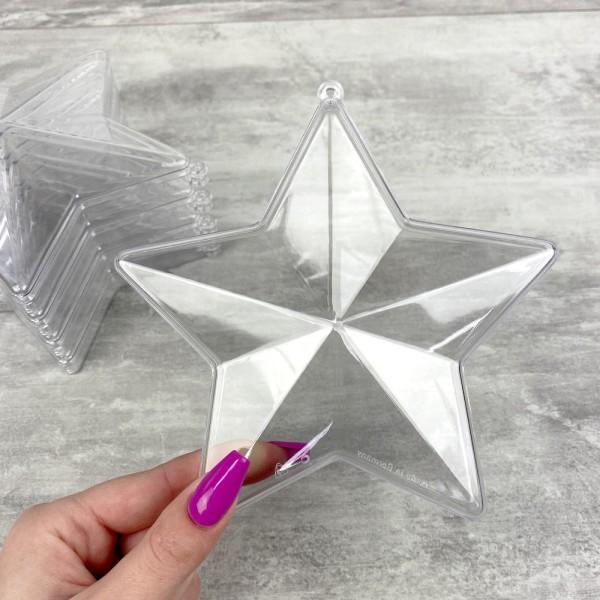Lot de 5 étoiles 3D plastique cristal alimentaire transparent, séparable, Contenant sécable de 14 cm - Photo n°2