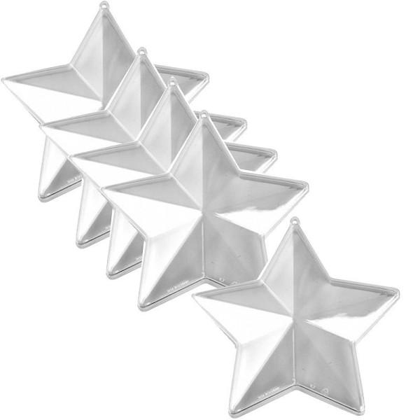 Lot de 5 étoiles 3D plastique cristal alimentaire transparent, séparable, Contenant sécable de 14 cm - Photo n°1
