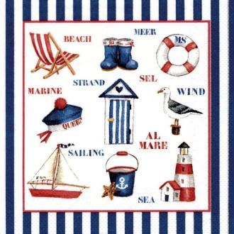 Lot de 20 Serviettes en papier Mer, Pêche et Goéland, 33 x 33 cm