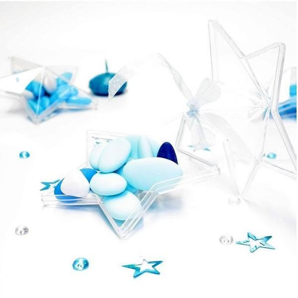 Lot de 5 étoiles 3D de 8 cm, plastique cristal alimentaire transparent, séparable, Contenant sécable - Photo n°4