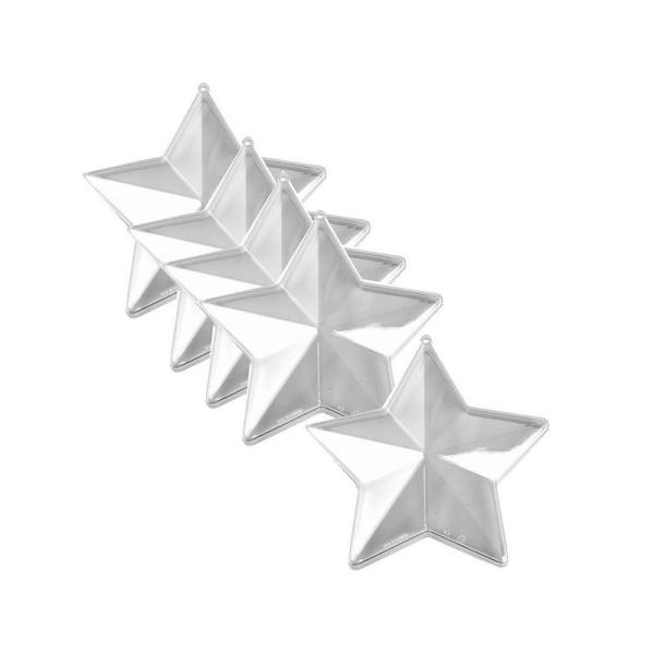 Lot de 5 étoiles 3D de 8 cm, plastique cristal alimentaire transparent, séparable, Contenant sécable - Photo n°1