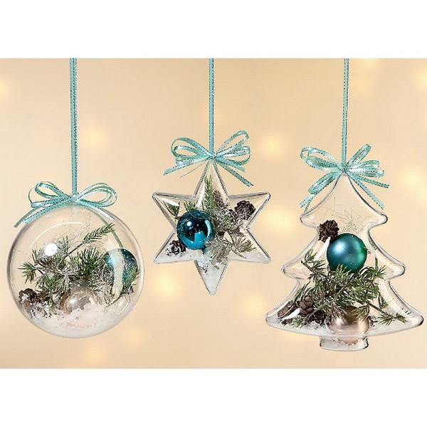 Lot de 5 étoiles 3D de 10 cm, 6 branches, plastique cristal alimentaire transparent, séparable, Cont - Photo n°4