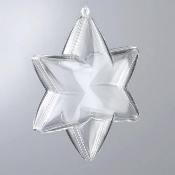 Lot de 5 étoiles 3D de 10 cm, 6 branches, plastique cristal alimentaire transparent, séparable, Cont - Photo n°1
