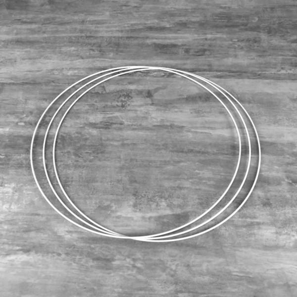 Lot de 3 Cercles métalliques blanc Diam. 45 cm pour abat-jour, Anneaux epoxy Attrape rêves - Photo n°1