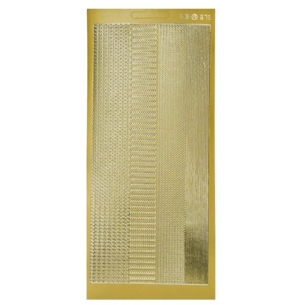 Lot de 6 Stickers de contour, Lignes et Bandelettes fines Dorées, Planches 10x23 cm - Photo n°1