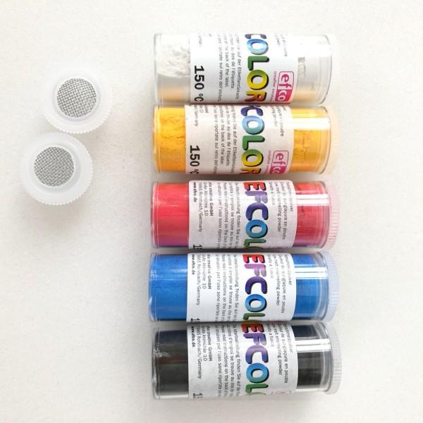 Set 5 couleurs Poudre Efcolor flacon 25 ml, soit 125 ml, nuancier primaire, 2 tamis, pour émaillage - Photo n°2
