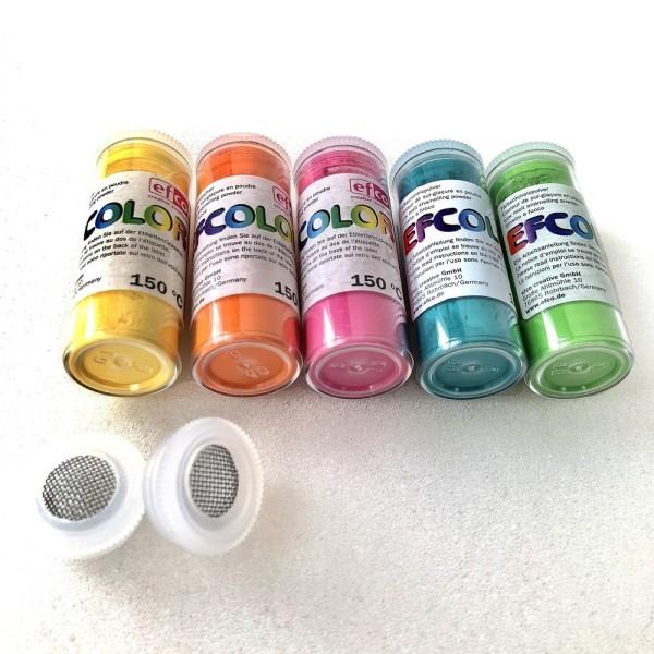 Set 5 couleurs Poudre Efcolor flacon 25 ml, soit 125 ml, nuancier estival, 2 tamis, pour émaillage à - Photo n°2