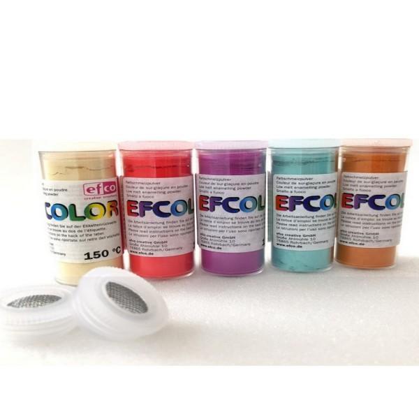 Set 5 couleurs Poudre Efcolor 25 ml, soit 125 ml, nuancier Doux, 2 tamis, émaillage à froid, cuisson - Photo n°1