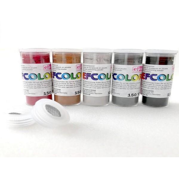 Set 5 couleurs Poudre Efcolor 25 ml, soit 125 ml, nuancier Foncé, 2 tamis, émaillage à froid, cuisso - Photo n°1