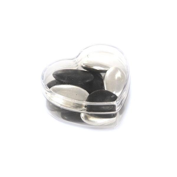Lot de 6 Boites contenants dragées en plastique forme Coeur, Long. 6 cm, haut. 3 cm - Photo n°3