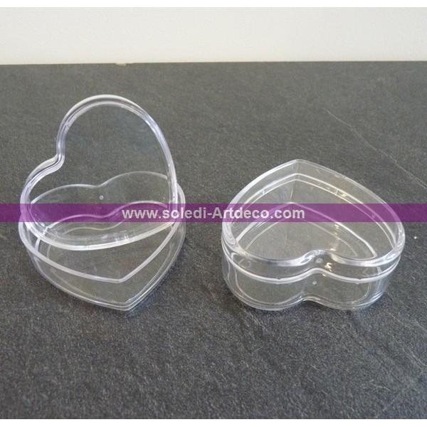 Lot de 6 Boites contenants dragées en plastique forme Coeur, Long. 6 cm, haut. 3 cm - Photo n°4