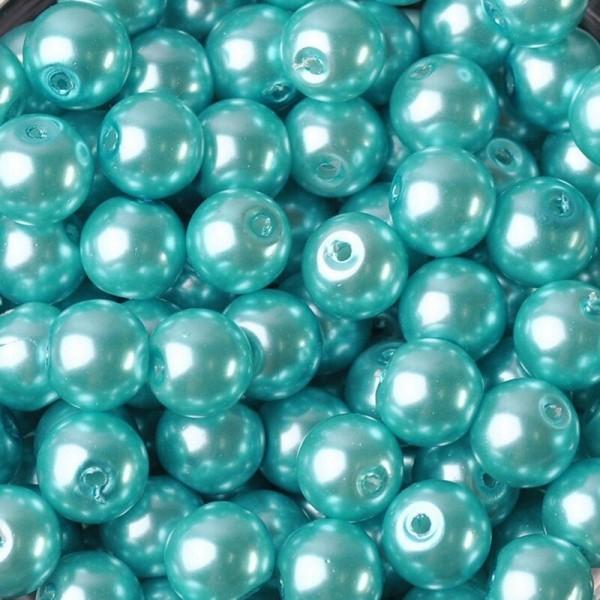 20 Perles imitation en Verre 8mm Couleur Bleu Clair creation Bijoux, Bracelet - Photo n°1