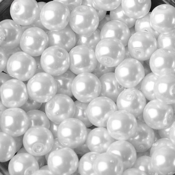 20 Perles imitation en Verre 8mm Couleur Blanc creation Bijoux, Bracelet - Photo n°1