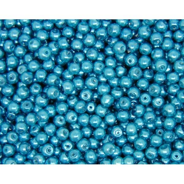 20 Perles imitation en Verre 8mm Couleur Turquoise creation Bijoux, Bracelet - Photo n°1