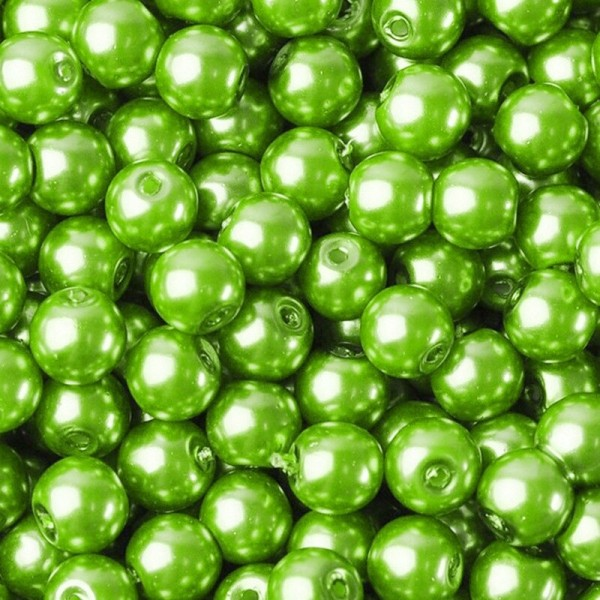 20 Perles imitation en Verre 8mm Couleur Vert Pomme creation Bijoux, Bracelet - Photo n°1