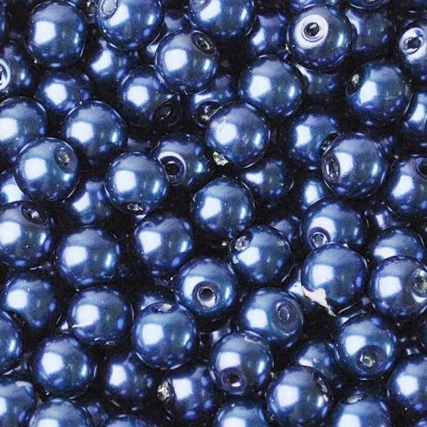 20 Perles imitation en Verre 8mm Couleur Bleu Foncé creation Bijoux, Bracelet - Photo n°1