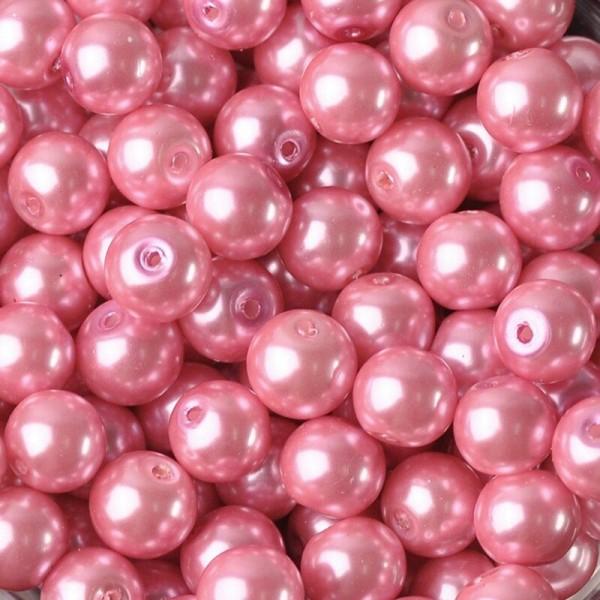 20 Perles imitation en Verre 8mm Couleur Rose creation Bijoux, Bracelet - Photo n°1